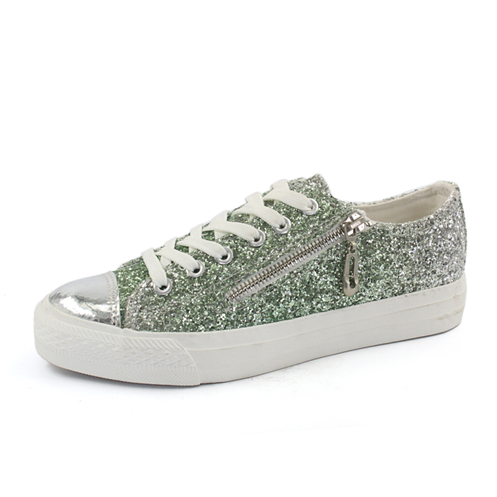 ladies glitter shoes , women sneakers flat shoes