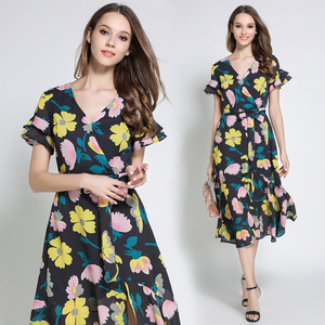 Z90633B 2017 Latest European sexy slim short sleeves printing slim fishtail dress with V-neck for sexy ladies