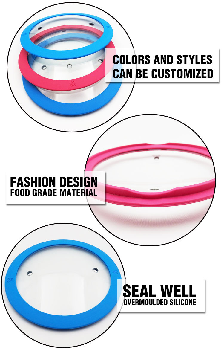 Tempered Glass Silicone Lid Glass Lid With Silicone Ring For Pan And Pot