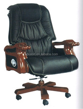 Oupusen black wooden PU office executive chair