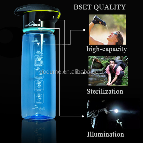Wholesale LED Light Outdoor Sport Water Bottle 750ml Plastic Bottle For Drinking Water