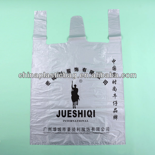 Custom design t-shirt bags for food packaging with vest handle (zz51)