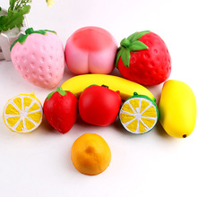 New arrived slow rise suqishy squeeze toy soft and squishy toy fruits//