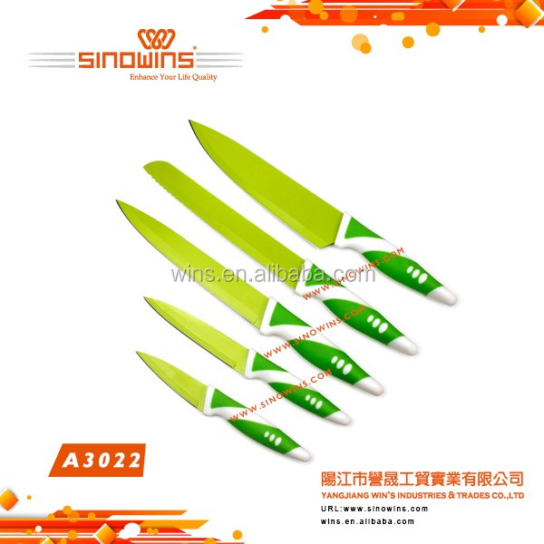 Hot Sell Well Green Color 5pc Non-stick Coated Knife Set