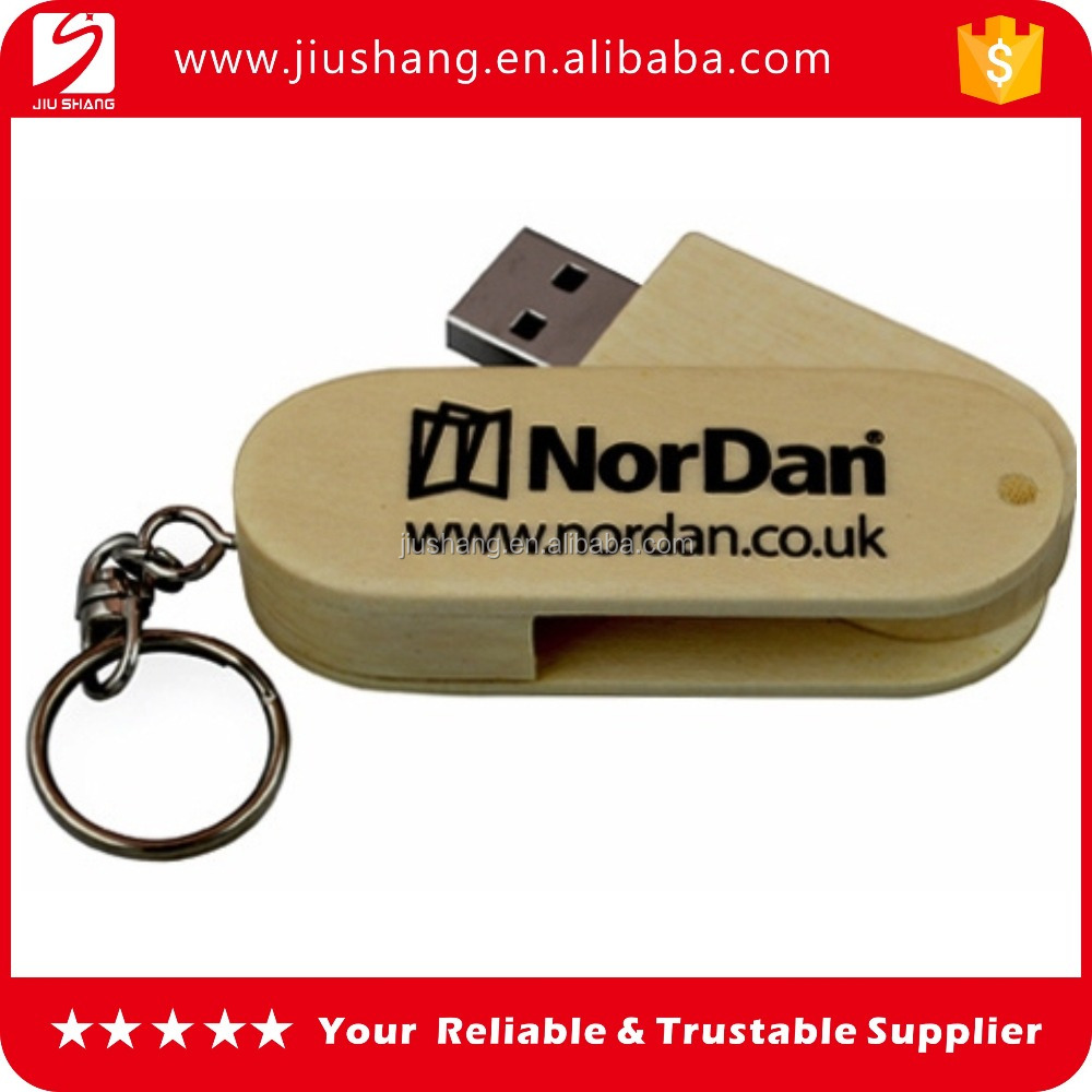 Hot sale eco-friendly wooden swivel usb flash drive with silk printing logo