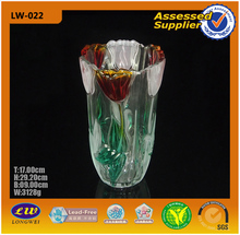 popular colored glass vase with flower shape decal