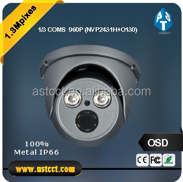 intelligent popular design IP66 1.3MP HD 720P AHD CMOS sensor IR 35M fixed lens mental housing Dome CCTV Camera