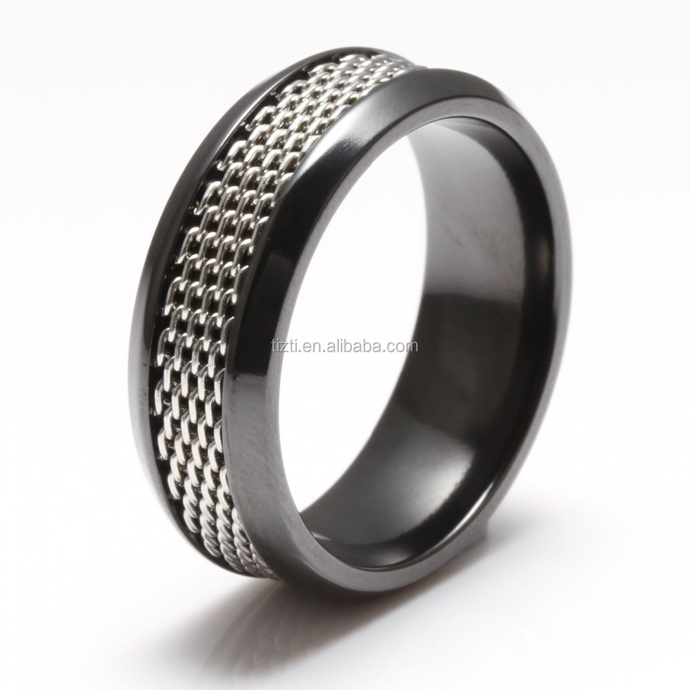 Black Zirconium Men's Comfort Fit Wedding Band Ring with silver steel inlay beveled edge