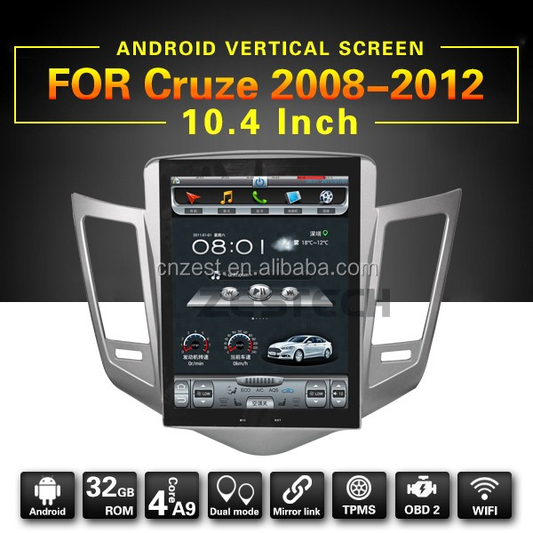 10.4 inch vertical screen android car dvd player for chevrolet cruze with WiFi/BT/Radio/gps/rds/swc