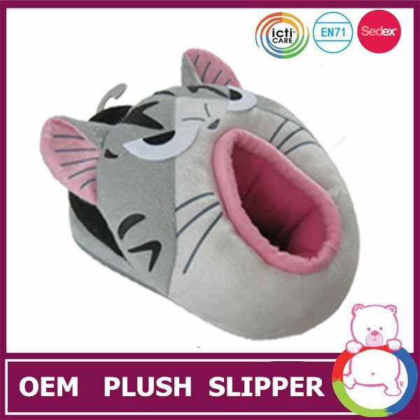 Good quality plush style cat shaped winter warm slipper