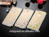 Electroplate Flowers Diamond case back cover for apple iphone 6 4.7 plus 5.5 5 5s