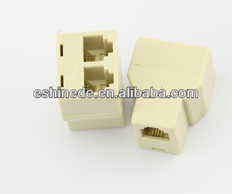 RJ11 RJ-11 1 to 2 Way cable Adaptor Connector RJ-11 Y-Splitter Extender Plug 1 Telephone Line to 2 Phone Adapter 1F-2F for Telep