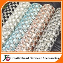 hot sale hot fix 8*8mm crystal rhinestone mesh banding,for garment accessories