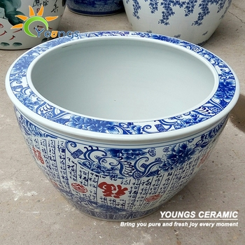 Beautiful big chinese blue and white ceramic outdoor flower pots