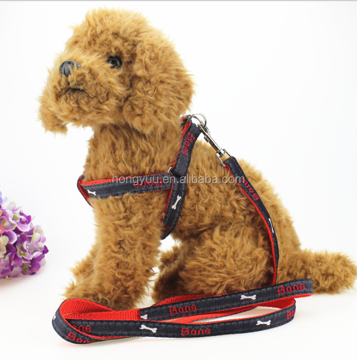 Durable Embroidered Denim Fabric Retractable Hands Free Dog Strap and Leash Pet Safety Walking and Training Leash