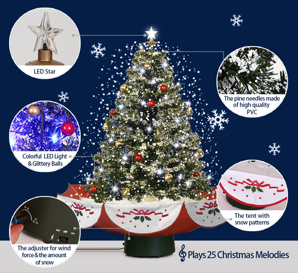 Hot Selling 29.5 in ( 75 cm ) New Snowing Christmas Ornament electrical christmas ornaments