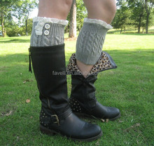 Women's Cable Knit Boot Cuffs With Lace