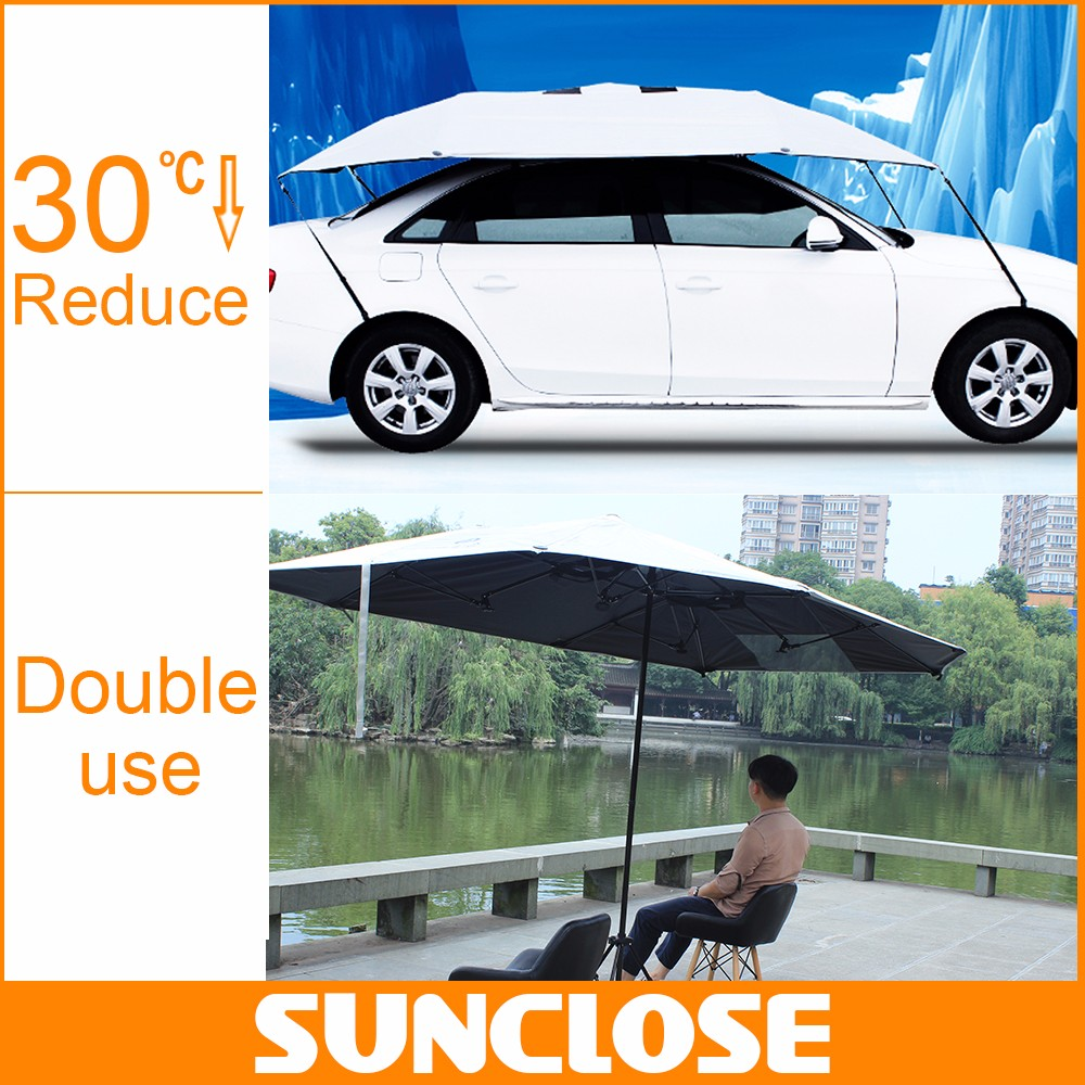 SUNCLOSE China factory air conditioning suit car cover for outdoor parking carbon steel car umbrella
