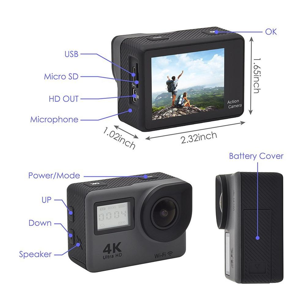 Newest 4K Sport Camera 2.0 inch action camera sport 4K Ultra 30fps wifi sport dv