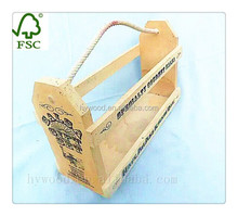 varnished cheap plywood slat wooden beer basket box for sale with rope handle