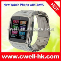 Cheap touch screen watch phone Quad band clock phone TW810 watch cell phone support Java