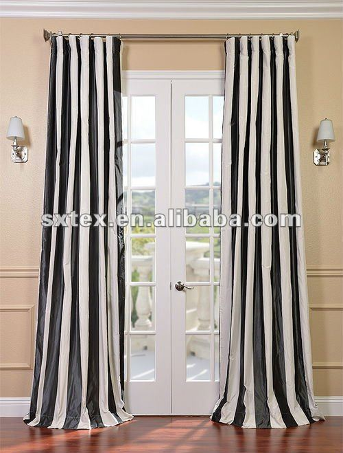 100%Polyester Stripe Yarn Dyed Faux Silk Curtain Yarn Dyed Curtain