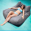 Pacific Grey oversized luxury comfortably accommodate two adults float beanbag, pool floating bean bag lounge