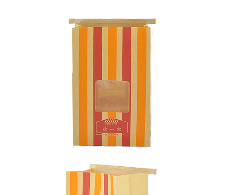 tin tie popcorn kraft paper bag with PP window