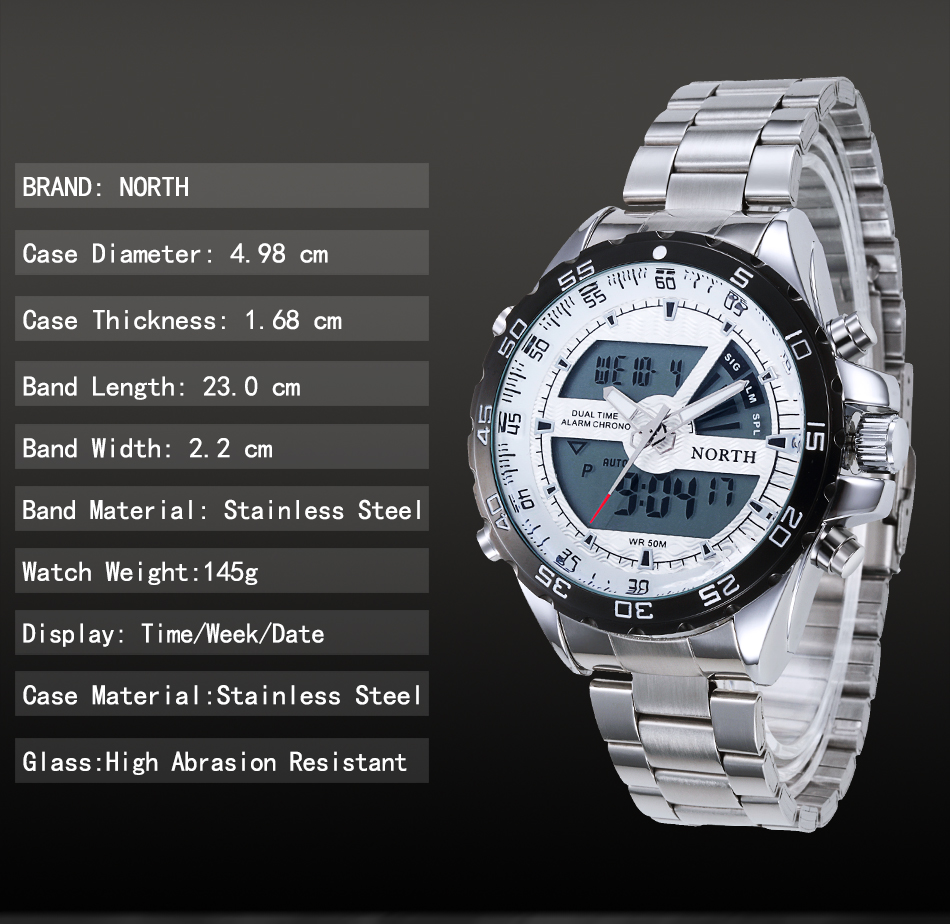NORTH Sport LED Hand Clock Luxury Brand Dual Display men hand watch