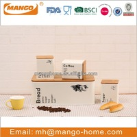 Airtight Metal Logo Kitchen Canister Set With Wooden cover