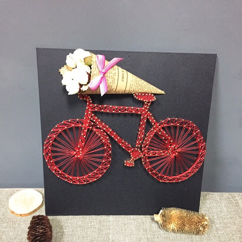 2017 hot sale Cute String Art with a bike for wall decor