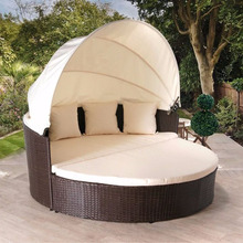 Best selling wicker garden furniture hotel daybed with covers for outdoor sunbed with canopy
