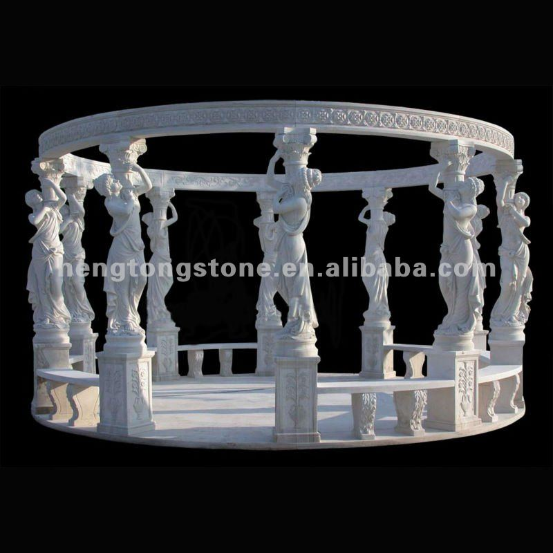 Big White Mable Gazebo Round with 10 Hand Carved Grace Sculpture Column
