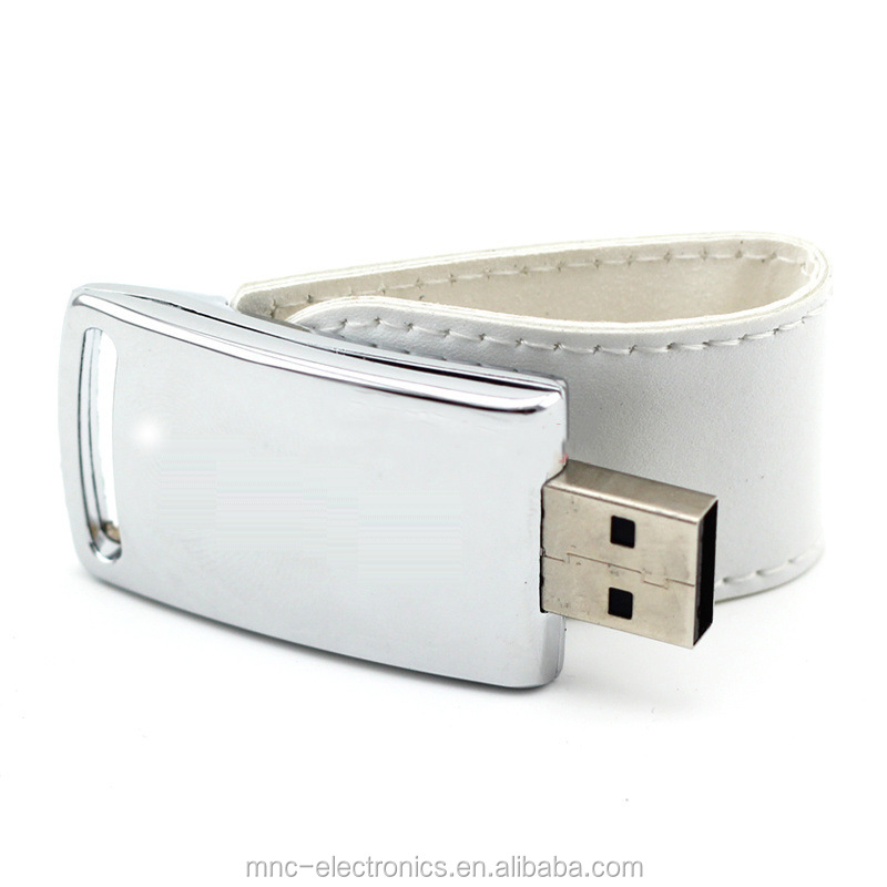 New design promotional gift curve shape custom emboss logo leather usb flash drive