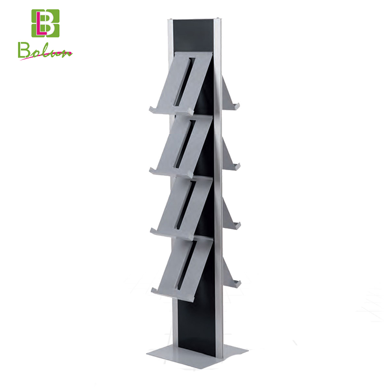 Customized color 3 layers collapsible children library single comic carton books sale floor tiers display rack shelf wholesale