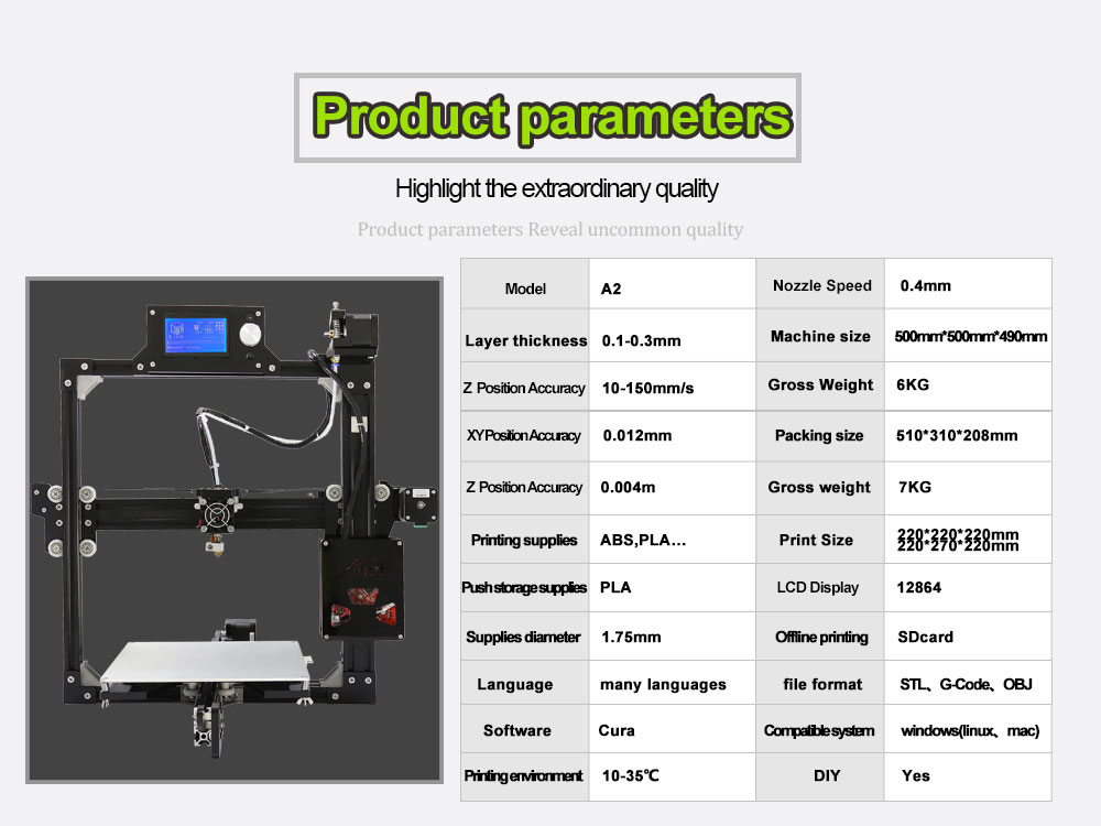 Anet A2 Fast Install 3d printer High Precision Reprap Prusa i3 3D Printer Kit DIY with 12864/2004LCD 10mFilament Free Gift