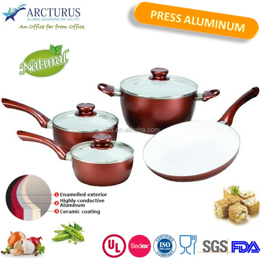 metallic red wine painted cookware set with painted bakelite handle