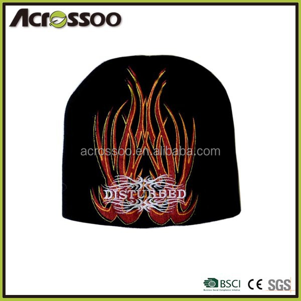 Designed black acrylic beanie/flame embroidery winter knit hat