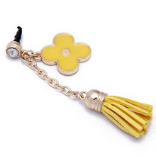 promotional item laptop Accessories Metal Glod Plated dust plug with Flower and Leather Tassels