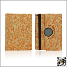 2016 China Supplier Grape Flower Pattern Rotatable Flip Leather Case for iPad Air2, mobil phone cover