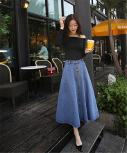 2016 Latest Dress Design Girls Women High Waist Denim button front dresses Maxi Long dress