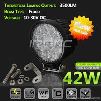 42W 14SMD LED Work Light High Power Head Lamp Super Bright Round Black Flood Beam 12V 24V Car OFF ROAD Waterproof Boat Van SUV 4