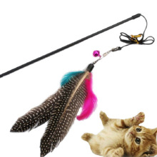 Plastic Kitten Cat Teaser Interactive Toy Rod with Bell and Feather