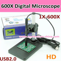 600X digital microscope with 8 LED night vision and metal fixed stand for Lab/student/jewelry