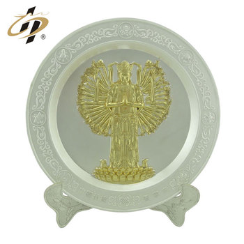 Custom decorative gold plate Thousand-Hand Kwan-yin souvenir plate with holder