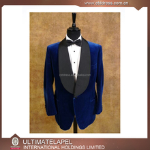 Fashion style custom made royal blue velvet designer suits designs for men