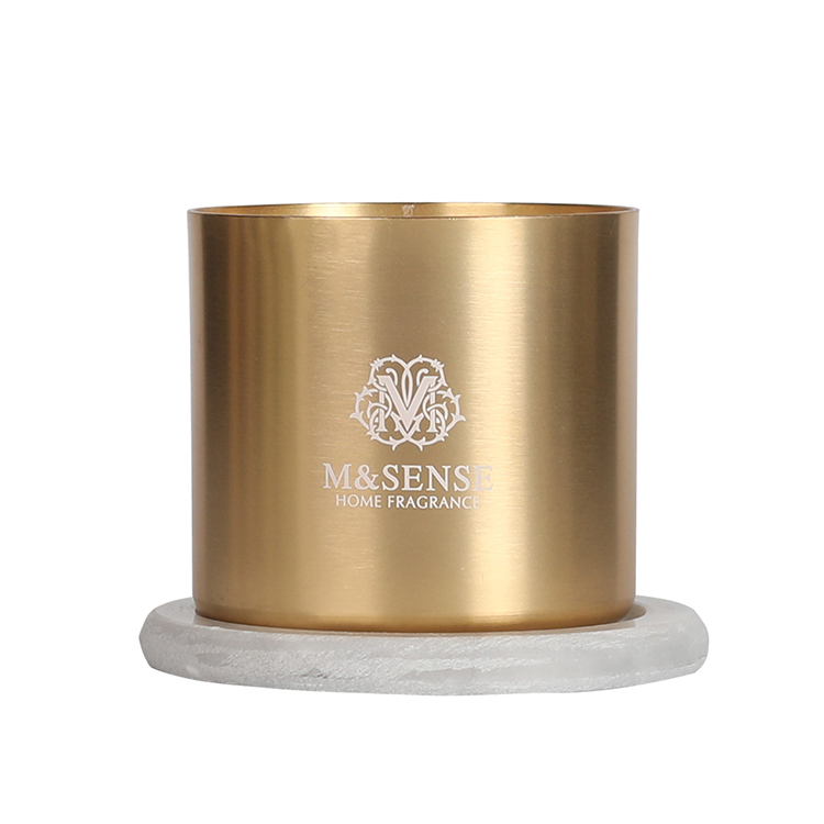 Aluminum jar candle holder with dust cover into color box