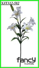 6 heads white single stem zebra tropical lily flower