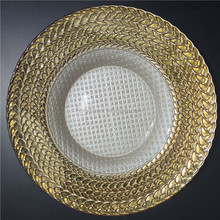 European wedding glass charger plates /round white and gold charger plates