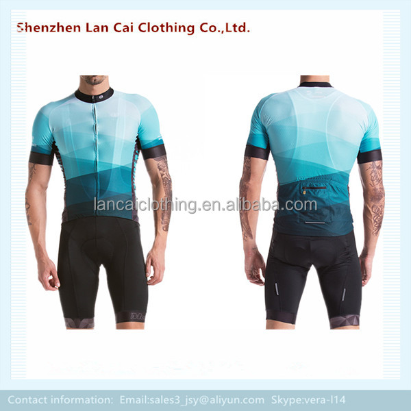 100% polyester 3d full sublimation print bike team jersey and shorts for men